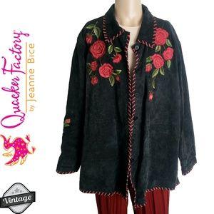 Vintage 90s Embroidered Floral Leather Jacket 3X